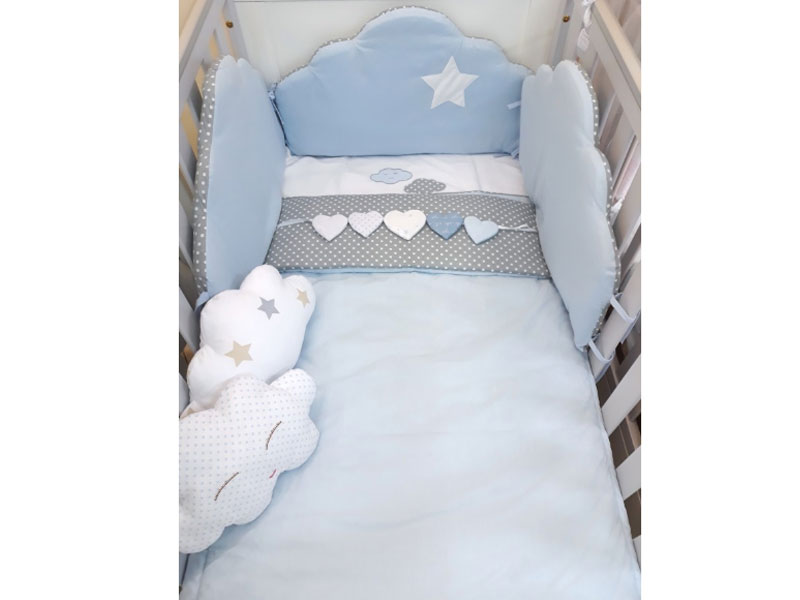9efa9c23da4 Baby Star Προίκα Μωρού Διπλή Όψης Συννεφάκι Σιέλ Γκρι | Σετ Προίκας ...