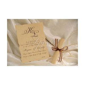 Προσκλητήριο Γάμου με Καφέ Κορδέλα Appeler