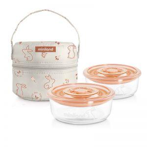 Miniland Σετ Δοχείων Φαγητού Pack-2-Go NaturRound Bunny