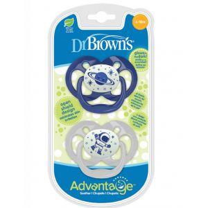 Dr.Brown's Advantage Night Σιλικόνης Πιπίλα 6-18m Blue 2τμχ PA22004