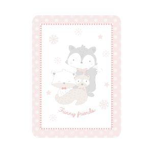 Kikka Boo Κουβέρτα Κούνιας Funny Friends Βελουτέ 110x140cm Pink  31103020090