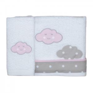 Baby Star Σετ Πετσέτες Λουτρού-Χεριών Σύννεφο Ροζ