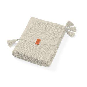 BabyOno: Πλεκτή κουβερτούλα αγκαλιάς από ίνες μπαμπού με φουντίτσες - Γκρί Ανοιχτό 75Χ100cm