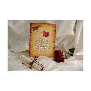Προσκλητήριο Γάμου Πάπυρος με Κόκκινο Τριαντάφυλλο Appeler
