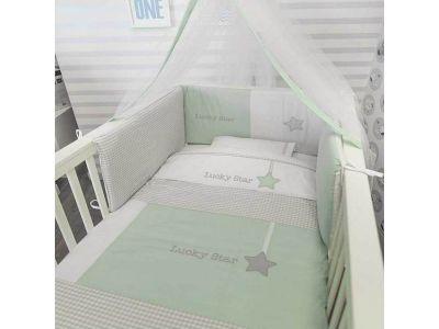 Baby Oliver Σετ Πάπλωμα - Πάντα - Κουνουπιέρα Κούνιας Lucky Star - Σχέδιο 304
